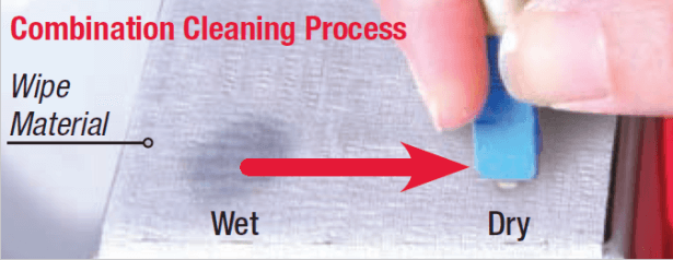 combination cleaning process for fiber optic connector cleaning